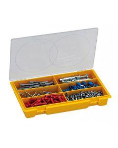 Caja organizadora ideal para organizar tornillos y pequeños objetos. Fabricada en polipropileno de alta calidad, brindando así un cierre seguro y ordenado.  Contiene 6 secciones