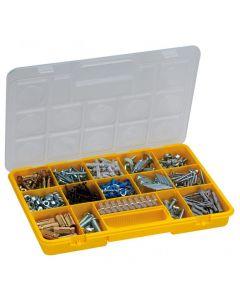 Caja organizadora ideal para organizar tornillos y pequeños objetos. Fabricada en polipropileno de alta calidad, brindando asíun cierre seguro y ordenado. Contiene 15 secciones removibles y ajustables.