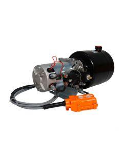 Central hidráulica 12 V 1,5 kW 2,1 cc 1 Efecto Estanque 6 L con Control Remoto, es una herramienta indispensable ya que puede ser usada en cualquier área y en la agricultura como industrial, ya que permite el izamiento de cargas, tolvas entre otras cosas