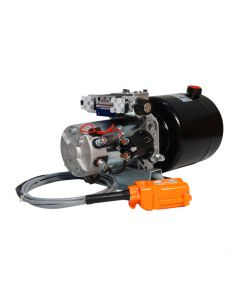 Central Oleohidraulica 12V 1,6 kW 2,1 CC Doble Efecto Estanque 6L Control Remoto.