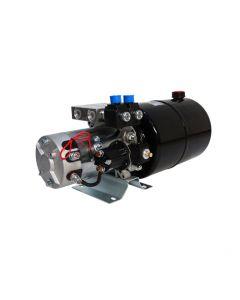 Central Oleohidraulica 24V 2kW 2,7CC 2 Efecto Estanque 8L. La central hidraúlica es un conjunto funcional listo para operación, ideal para uso de tolva, levantar vehiculos y cargas, entre otros.