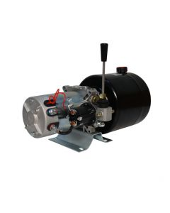 Central Oleohidraulica 24V 2kW 2,7CC 1 Efecto Estanque 6L Válvula Manual. La central hidráulica es un conjunto funcional listo para operación, ideal para uso de tolva, levantar vehículos y cargas, entre otros.