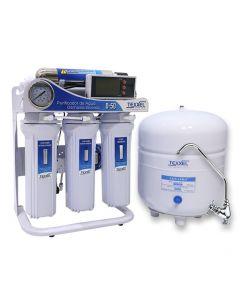 Purificador agua Osmosis Inversa TEXXEL D-50. 5 Etapas. Luz Uv. Sensor Medidor Pureza Agua TDS. Controlador Electronico . Bomba Electrica. Membrana Osmosis Inversa. Recambios
