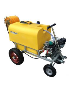 Carro 400 L motor bencinero 4T con enrollador metálico reforzado, 100 mts manguera 8.5 mm y lanza, ideal para pulverización.