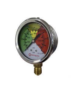 """Manómetro Glicerina con rango de presión de 0 a 100 bar, acero inoxidable, conexión 1/4"""""""