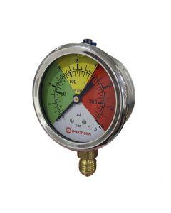 Manómetro de glicerina, con rango de presión de 0 a 16 bar, en acero inoxidable.
