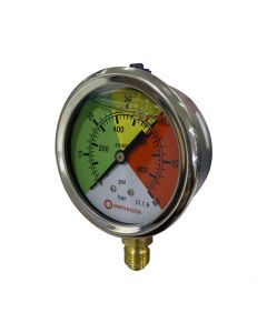 Manómetro de glicerina con rango de presión de 0 a 60 bar, en acero inoxidable.