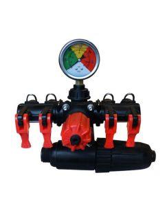 Comando regulador de presión permite mayor sensibilidad y precisión, rango de presión hasta 20 bar, ideal para utilizar en tratamientos herbicida.