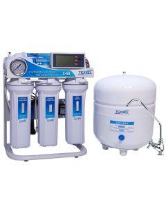 Sistema purificador de agua Osmosis Inversa TEXXEL C-50. 5 Etapas. Sensor Medidor Pureza Agua TDS. Controlador Electronico . Bomba Electrica. Membrana Osmosis Inversa. Ideal para ser instalado en hogares u oficinas debido a su diseño pequeño